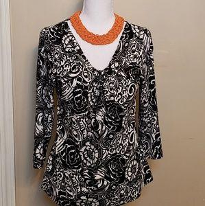 Talbots black and white v-neck sweater, size M